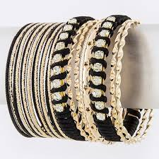 set bracelet images Black crystal twist mixed bangle set bracelet jpg