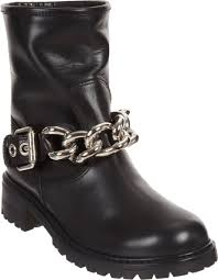 brown moto boots giuseppe zanotti chain strap moto boot in black lyst