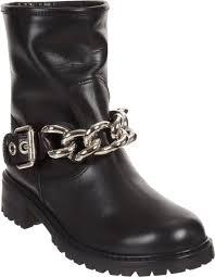 brown moto boots giuseppe zanotti chain strap moto boot in black lyst