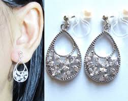 bridal clip on earrings bridal invisible clip on earrings wedding dangle 27x