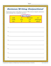 sentence writing comjunctions 3rd grade conjunction worksheets