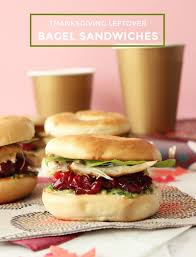 thanksgiving leftover bagel sandwiches glitter and bubbles recipes