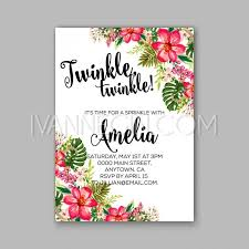 baby shower floral invitation with hibiscus flower and tropical