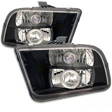 mustang projector headlights 2005 2009 ford mustang projector headlights led halo black