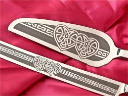 celtic knot wedding cake server and knife set personalized irish