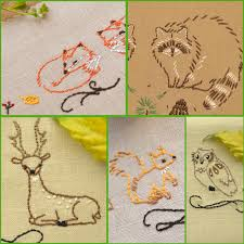 hand embroidery patterns rustic home decor embroidery hand embroidery patterns set woodland animals embroidery pattern for quilt blocks or kitchen towels