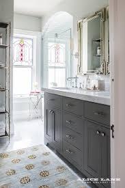 Dual Bathroom Vanity by Dark Gray Dual Bath Vanity With Greek Key Mirrors Transitional
