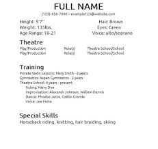 Free Actor Resume Template Impressive Special Skills Acting Resume 12 Free Template Cvfree