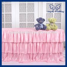 Pink Table Skirt by Sk006c Wedding Fancy New Three Tiered Polyester Banquet Ruffled
