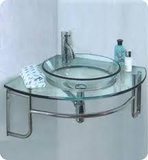 Fresca Ordinato Corner Wall Mount Glass Bathroom Vanity With - Corner sink bathroom cabinet