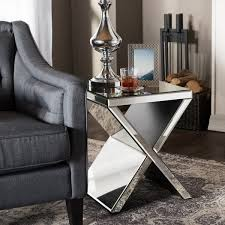 Silver Mirrored Nightstand Glam Silver Mirrored Nightstand By Baxton Studio Free Shipping