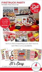 firetruck birthday decorations firetruck party printable zoom