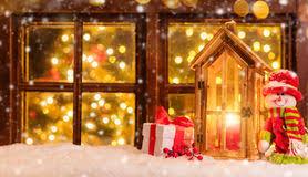 atmospheric christmas window sill decoration stock image image
