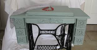 Antique Singer Sewing Machine And Cabinet Singer Treadle Sewing Machine Cabinet Gets A Makeover In Duck Egg