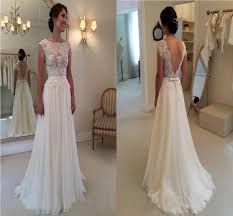 backless lace wedding dresses 2015 a line wedding dress with backless bateau chapel