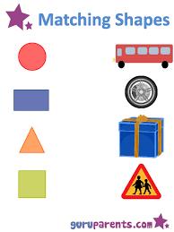 teaching shapes worksheet matching hoc pinterest