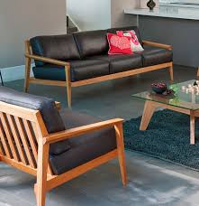 Leather And Wood Sofa Contemporary Wood Sofa Wooden Stanley By Matthew On Design Ideas
