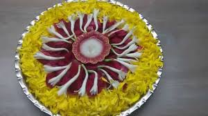 pooja thali decorated with flowers youtube