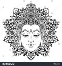 buddha face over ornate mandala round stock vector 426199747