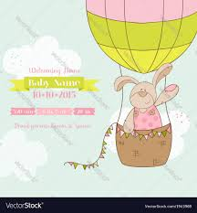 baby shower card baby bunny with air balloon vector image