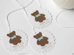 teddy baby shower favors boy baby shower thank you tags blue baby boy shower favor