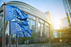 bureau union bruxelles european union flag against european parliament stock photo