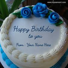 blue birthday cake with name edit option online wishes greeting card