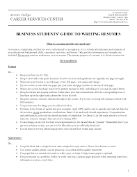 business resume for college students lerner college career services center with business students guide