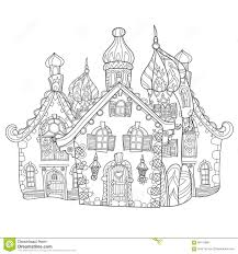 vector cute fairy tale town doodle stock vector image 68179386