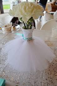 wedding shower centerpieces wedding dress bouquet vase floral arrangement teal bling belt