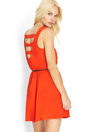 forever 21 soft woven cage dress in red lyst