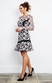 lilac black long sleeve floral skater dress silkfred