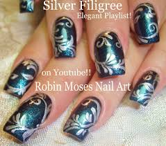 nail art tutorial dy elegant filigree nail design dark blue and