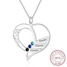 sted name necklace s gift personalized name necklace with birthstone 925 sterling