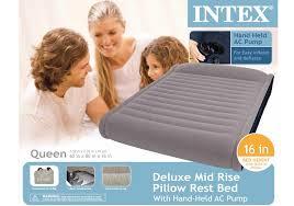 intex deluxe mid rise queen air mattress and pump
