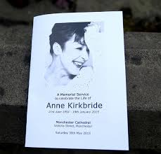 Memorial Booklet Coronation Street Cast And Fans Attend Anne Kirkbride Memorial