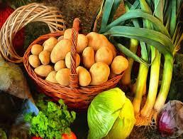 vegetables onions basket potatoes table