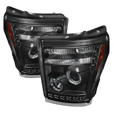spyder 5070272 black projector headlights w led halo