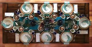 teal wedding peacock wedding table setting ideas with copper teal and cobalt blue