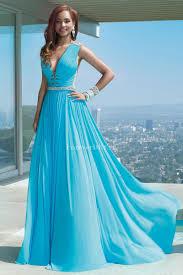 light sky blue chiffon deep v neck evening dress