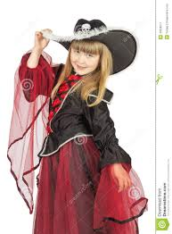 girls halloween pirate costume pretty little in pirate costume on the white background stock