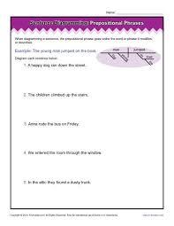 diagramming sentences worksheets prepositional phrases