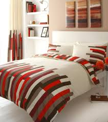 red brown u0026 cream block printed superking duvet cover bed set