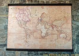 World Map 1800 by Rare Pull Down Map World Map 1800 Cotton Canvas 204 X 150