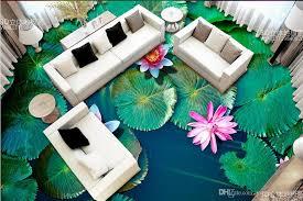 3d floor tiles custom wallpapers for living room lotus pond 3d