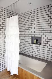 Curtain In Bathroom Subway Tile Dark Grout Ruffle Shower Curtain In Bathroom