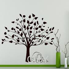 online get cheap wall stickers trees aliexpress com alibaba group wall stickers tree dog decal vinyl living room bathroom kitchen window baby nursery bedroom home decor