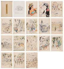 book of travel sketches 16 drawings with autograph letter by chun