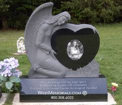 granite headstones angel memorial granite heart headstones west memorials