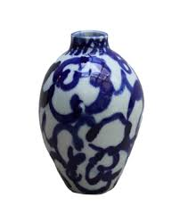 Blue And White Ceramic Vase Table Top Vases Hollyhock Antique Vintage U0026 New Furnishings